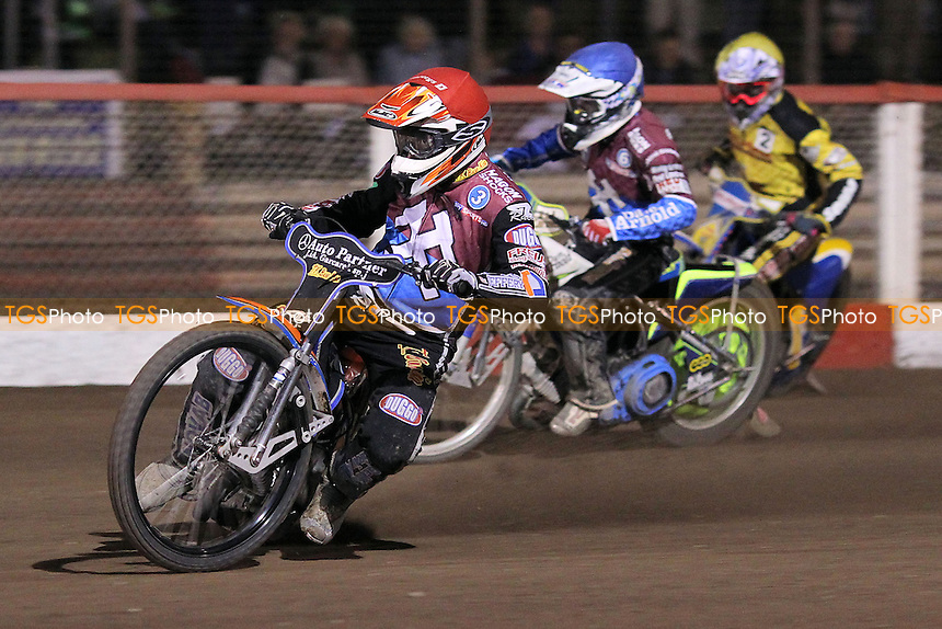 Heat 11: Peter Karlsson (red), Justin Sedgmen (blue) and Chris Harris - Lakeside Hammers vs Coventry Bees - Sky Sports Elite League Speedway at Arena Essex Raceway, Purfleet - 10/09/12 - MANDATORY CREDIT: Gavin Ellis/TGSPHOTO - Self billing applies where appropriate - 0845 094 6026 - contact@tgsphoto.co.uk - NO UNPAID USE.