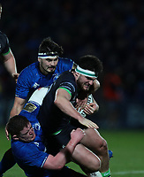 4th January 2020; RDS Arena, Dublin, Leinster, Ireland; Guinness Pro 14 Rugby, Leinster versus Connacht; Shane Delahunt (Connacht) is tackled by Tadhg Furlong (Leinster) and Max Deegan (Leinster)  - Editorial Use