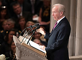 Former United States Senator Joseph Lieberman (Independent Democrat of Connecticut) speaks at the funeral service for the late US Senator John S. McCain, III (Republican of Arizona) at the Washington National Cathedral in Washington, DC on Saturday, September 1, 2018.<br /> Credit: Ron Sachs / CNP<br /> (RESTRICTION: NO New York or New Jersey Newspapers or newspapers within a 75 mile radius of New York City)