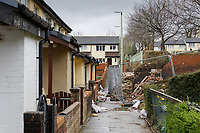 Pictured: The flood affected row of houses in Wordsworth Gardens in the Rhydyfelin area of Pontypridd. Wednesday 04 March 2020<br /> Re: Revisiting the flood affected areas in Pontypridd, Wales, UK.