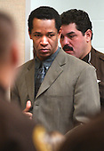 Sniper suspect John Allen Muhammad is escorted into courtroom 10 at the Virginia Beach Circuit Court for the second day of jury deliberations in Virginia Beach, Virginia on November 17, 2003.<br /> Credit: Dave Ellis - Pool via CNP
