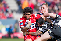 Picture by Allan McKenzie/SWpix.com - 30/03/2018 - Rugby League - Betfred Super League - Hull KR v Hull FC - KC Lightstream Stadium, Hull, England - Hull KR's Mose Masoe is tackled by Hull FC's Mickey Paea and Chris Green.