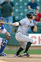 Omaha Storm Chaser shortstop Lance Zawazki at bat against the Round Rock Express in Pacific Coast League baseball on Monday April 11th, 2011 at Dell Diamond in Round Rock Texas.  (Photo by Andrew Woolley / Four Seam Images)