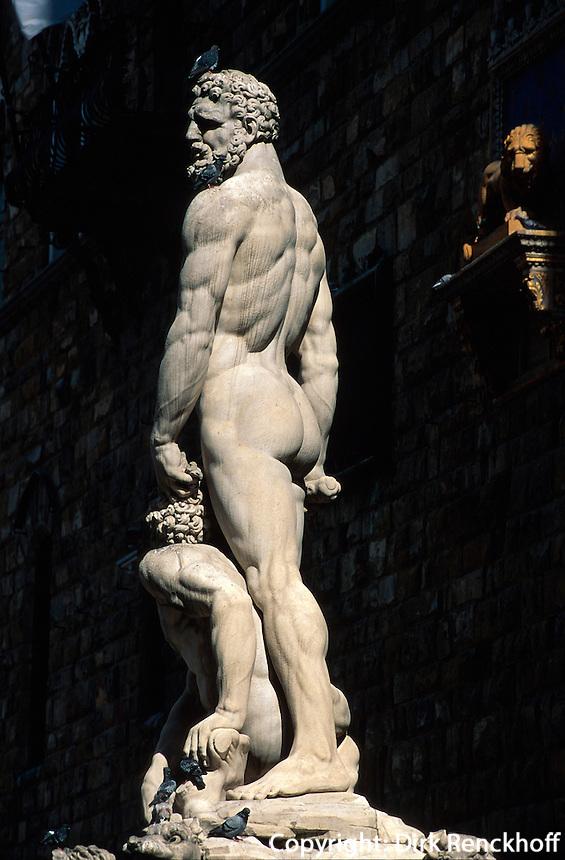 Piazza della Signoria, Herkules von Bandinelli, Florenz, Toskana, Italien, Unesco-Weltkulturerbe