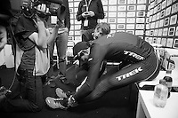 race winner Fabian Cancellara (CHE/TrekFactoryRacing) stretching while waiting for the live tv interviews after the race<br /> <br /> Ronde van Vlaanderen 2014