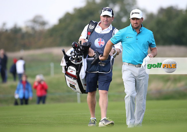 Graeme McDowell (NIR) heads to the 10th with caddie Ken Comboy during Round Three at the The British Masters 2016, at The Grove, Hertfordshire, England. 15/10/2016. Picture: David Lloyd | Golffile.