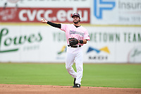 Hickory Crawdads second baseman Tyler Depreta-Johnson (2) throws to first base during the game with the Charleston Riverdogs at L.P. Frans Stadium on May 12, 2019 in Hickory, North Carolina.  The Riverdogs defeated the Crawdads 13-5. (Tracy Proffitt/Four Seam Images)