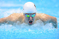PICTURE BY ALEX BROADWAY /SWPIX.COM - 2012 London Paralympic Games - Day Ten - Swimming, Aquatic Centre, Olympic Park, London, England - 08/09/12 - Andrew Pasterfield of Australia competes in the Men's 4x100m Medley 34 Point Relay Heats.