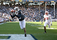 State College, PA -- 10/13/2007 -- Wide receiver Deon Butler makes a 29-yard reception for a touchdown to give Penn State a 17-7 lead in the second quarter.  Butler had 7 catches for 93 yards during the game.  Penn State defeated Wisconsin by a score of 38-7 on Saturday, October 13, 2007, at Beaver Stadium.    ..Photo:  Joe Rokita / JoeRokita.com