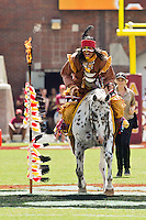 September 15, 2012:   Florida State Seminoles mascot Chief Osceola and his horse Renegade plant a spear at midfield before the start of action between the Florida State Seminoles and theWake Forest Demon Deacons at Doak S. Campbell Stadium.