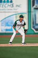 Fort Wayne TinCaps second baseman Tucupita Marcano (15) during a Midwest League game against the Peoria Chiefs on July 17, 2019 at Parkview Field in Fort Wayne, Indiana.  Fort Wayne defeated Peoria 6-2.  (Mike Janes/Four Seam Images)