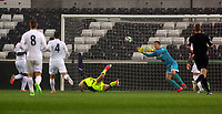 Pictured: Gregor Zabret of Swansea City saves the ball from a header by Andrija Novakovich of Reading Monday 15 May 2017<br /> Re: Premier League Cup Final, Swansea City FC U23 v Reading U23 at the Liberty Stadium, Wales, UK