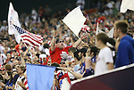 11 October 2008: A U.S. fan leads others in cheers during second half play. The United States Men's National Team defeated Cuba Men's National Team 6-1 at RFK Stadium in Washington, DC in a CONCACAF semifinal round FIFA 2010 South Africa World Cup Qualifier.