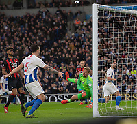 Brighton & Hove Albion's captain Lewis Dunk (left) celebrates as Brighton & Hove Albion's Florin Andone (right) scores the opening goal <br /> <br /> Photographer David Horton/CameraSport<br /> <br /> The Premier League - Brighton and Hove Albion v Huddersfield Town - Saturday 2nd March 2019 - The Amex Stadium - Brighton<br /> <br /> World Copyright © 2019 CameraSport. All rights reserved. 43 Linden Ave. Countesthorpe. Leicester. England. LE8 5PG - Tel: +44 (0) 116 277 4147 - admin@camerasport.com - www.camerasport.com