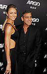 BEVERLY HILLS, CA - OCTOBER 04: Stacy Keibler and George Clooney arrive at the 'Argo' - Los Angeles Premiere at AMPAS Samuel Goldwyn Theater on October 4, 2012 in Beverly Hills, California.