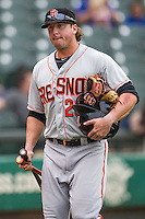 Fresno Grizzlies infielder Mark Minicozzi (23) before the Pacific Coast League baseball game against the Round Rock Express on June 22, 2014 at the Dell Diamond in Round Rock, Texas. The Express defeated the Grizzlies 2-1. (Andrew Woolley/Four Seam Images)