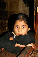 Portrait of a Maya girl in Coban, Alta Verapaz, Guatemala.