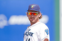 Adam Martin (44) of the Everett Aquasox during a game against the Vancouver Canadian at Everett Memorial Stadium in Everett, Washington on July 28, 2015.  Everett defeated Vancouver 8-5. (Ronnie Allen/Four Seam Images)