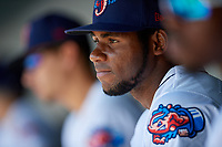 Jacksonville Jumbo Shrimp Jorge Guzman (26) in the dugout during a Southern League game against the Tennessee Smokies on April 29, 2019 at Baseball Grounds of Jacksonville in Jacksonville, Florida.  Tennessee defeated Jacksonville 4-1.  (Mike Janes/Four Seam Images)