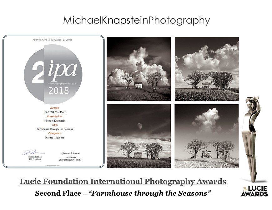 A 4-image series of photographs by Michael Knapstein won Second Place in the Lucie Foundation's International Photography Awards.