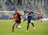 Kansas City, Kansas - Saturday April 16, 2016: Western New York Flash defender Jessica McDonald (14) and FC Kansas City midfielder Yael Averbuch (10) battle for the ball at Children's Mercy Park. Western New York won 1-0.