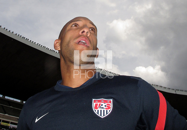 MEXICO CITY, MEXICO - AUGUST 15, 2012:  Tim Howard of the USA MNT talks to the press before an international friendly match against Mexico at Azteca Stadium, in Mexico City, Mexico on August 15.