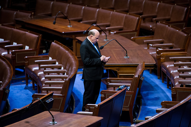 UNITED STATES - FEBRUARY 28: Rep. Louie Gohmert, R-Texas, arrives early to get an aisle seat for President Donald Trump's address to a joint session of Congress on Tuesday, Feb. 28, 2017. (Photo By Bill Clark/CQ Roll Call)