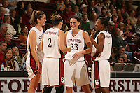 14 January 2006: Jillian Harmon, Brooke Smith, Krista Rappahahn, and Candice Wiggins during Stanford's 87-75 win over the California Golden Bears at Maples Pavilion in Stanford, CA.