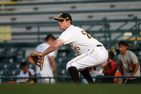 Bradenton Marauders first baseman Jordan Steranka (25) waits for a throw during a game against the St. Lucie Mets on April 11, 2015 at McKechnie Field in Bradenton, Florida.  St. Lucie defeated Bradenton 3-2.  (Mike Janes/Four Seam Images)