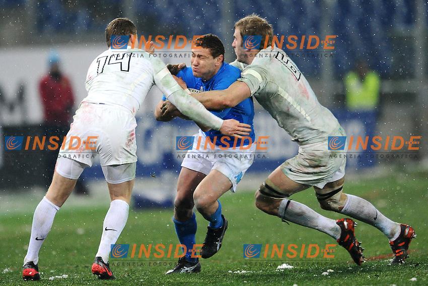 "Chris Ashton England (L), Fabio Semenzato Italia (C), Tom Croft England (R).Roma 11/20/2012 Stadio ""Olimpico"".Rugby 6 Nations Tournament - Torneo delle 6 Nazioni 2012.Italia Vs Inghilterra - Italy Vs England .Foto Insidefoto Andrea Staccioli"