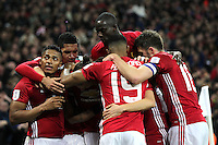 Manchester United celebrate after Zlatan Ibrahimovic scored a late winner <br /> Londra Wembley Stadium Southampton vs Manchester United - EFL League Cup Finale - 26/02/2017 <br /> Foto Phcimages/Panoramic/Insidefoto
