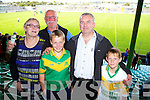 Joan O'Carroll, Bart O'Carroll, Cillian Monaghan, Raymond Monaghan, Robert Monaghan at the Senior County Hurling final, Lixnaw V Kilmoyley at Austin Stack Park on Sunday