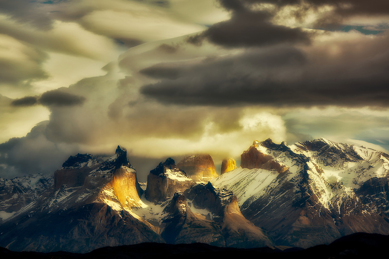 Paine Massif mountains with lenticukar clouds . Torres del Paine National Park, Chile, Patagonia