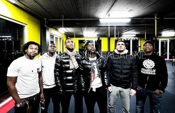 "Belgian-Congolese football players Ilombe""Pelé""  Mboyo, Hervé Kagé, Jeanvion Yulu-Matondo and Geoffrey Mujangi Bia (Belgium, 16/12/2012)"