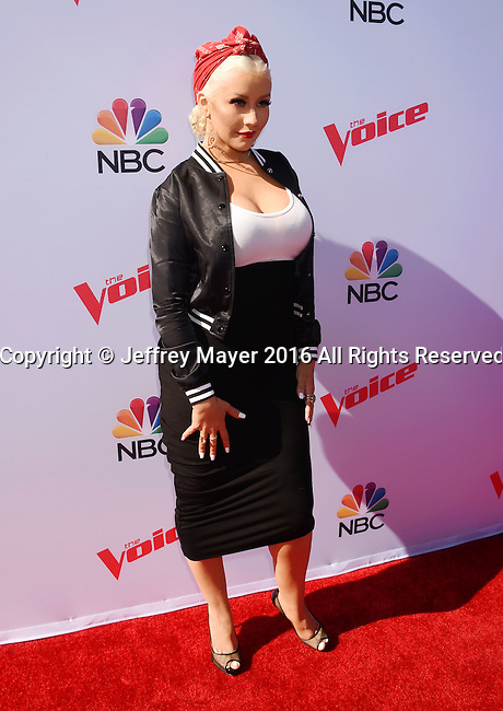 WEST HOLLYWOOD, CA - APRIL 21: Singer Christina Aguilera arrives at 'The Voice' Karaoke For Charity event at HYDE Sunset: Kitchen + Cocktails on April 21, 2016 in West Hollywood, California.
