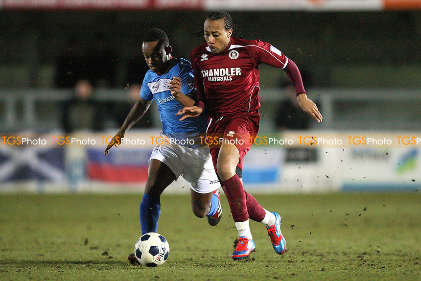 Ricky Modeste of Chelmsford tangles with Nabi Diallo - Chelmsford City vs Weston-super-Mare - Blue Square Conference South Football at Melbourne Park Stadium - 20/02/12- MANDATORY CREDIT: Gavin Ellis/TGSPHOTO - Self billing applies where appropriate - 0845 094 6026 - contact@tgsphoto.co.uk - NO UNPAID USE.