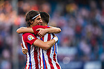 Filipe Luis (l) of Club Atletico de Madrid celebrates with Yannick Ferreira Carrasco of Club Atletico de Madrid during their La Liga match between Club Atletico de Madrid and Malaga CF at the Estadio Vicente Calderón on 29 October 2016 in Madrid, Spain. Photo by Diego Gonzalez Souto / Power Sport Images