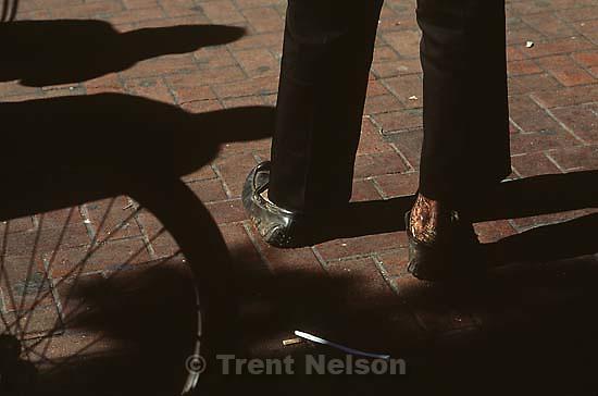 Homeless man's dirty  feet.<br />