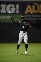 Richmond Flying Squirrels outfielder Jacob Heyward (13) throws the ball in during an Eastern League game against the Bowie Baysox on August 15, 2019 at Prince George's Stadium in Bowie, Maryland.  Bowie defeated Richmond 4-3.  (Mike Janes/Four Seam Images)