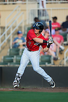 Max Dutto (14) of the Kannapolis Intimidators at bat against the Hagerstown Suns at Kannapolis Intimidators Stadium on July 4, 2016 in Kannapolis, North Carolina.  The Intimidators defeated the Suns 8-2.  (Brian Westerholt/Four Seam Images)