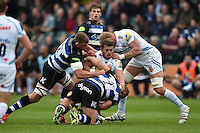 Luke Cowan-Dickie of Exeter Chiefs is tackled to ground. West Country Challenge Cup match, between Bath Rugby and Exeter Chiefs on October 10, 2015 at the Recreation Ground in Bath, England. Photo by: Patrick Khachfe / Onside Images