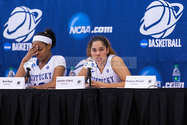 Kentucky players Jennifer O'Neill and Bria Goss answer questions at the press conference after their loss against Dayton in the third round of the NCAA tournament at Memorial Coliseum  on Sunday, March 22, 2015 in Lexington, Kentucky. Dayton defeated UK 99-94. Photo by Taylor Pence | Staff