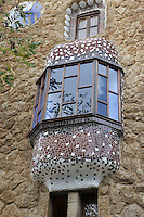 Balcony on the warden house at the main gateway, Park Güell, Barcelona, Catalonia, Spain, 1900 - 1914, built by architect Antoní Gaudi (Reus 1852, Barcelona 1926). Picture by Manuel Cohen