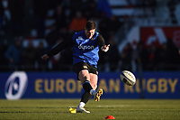 Freddie Burns of Bath Rugby practises his kicking during the pre-match warm-up. European Rugby Champions Cup match, between RC Toulon and Bath Rugby on December 9, 2017 at the Stade Mayol in Toulon, France. Photo by: Patrick Khachfe / Onside Images