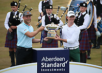 With the trophy Brandon Stone (RSA) and caddie Teagan Moore win the Final Round of the ASI Scottish Open 2018, at Gullane, East Lothian, Scotland.  15/07/2018. Picture: David Lloyd | Golffile.<br /> <br /> Images must display mandatory copyright credit - (Copyright: David Lloyd | Golffile).