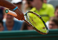 Paris, France, 25 June, 2016, Tennis, Roland Garros, Nick Kyrgios (AUS) brakes a string in his match against Igor Sijsling (NED)<br /> Photo: Henk Koster/tennisimages.com