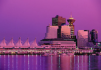 Sails of Canada Place at twilight Vancouver BC Canada
