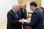 Palestinian President Mahmoud Abbas receives the credentials of the Jordanian Ambassador to the State of Palestine, in the West Bank city of Ramallah on October 18, 2018. Photo by Thaer Ganaim