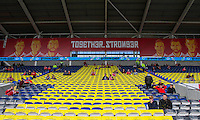 General view inside the ground of a St David's Cross in the seating ahead of the FIFA World Cup Qualifier match between Wales and Georgia at the Cardiff City Stadium, Cardiff, Wales on 9 October 2016. Photo by Mark  Hawkins / PRiME Media Images.