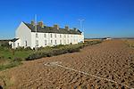 Coastguard Cottage, beach housing on the coast, Shingle Street, Suffolk, England, UK